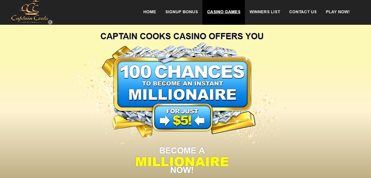 captain cooks 100 chances bonus codes