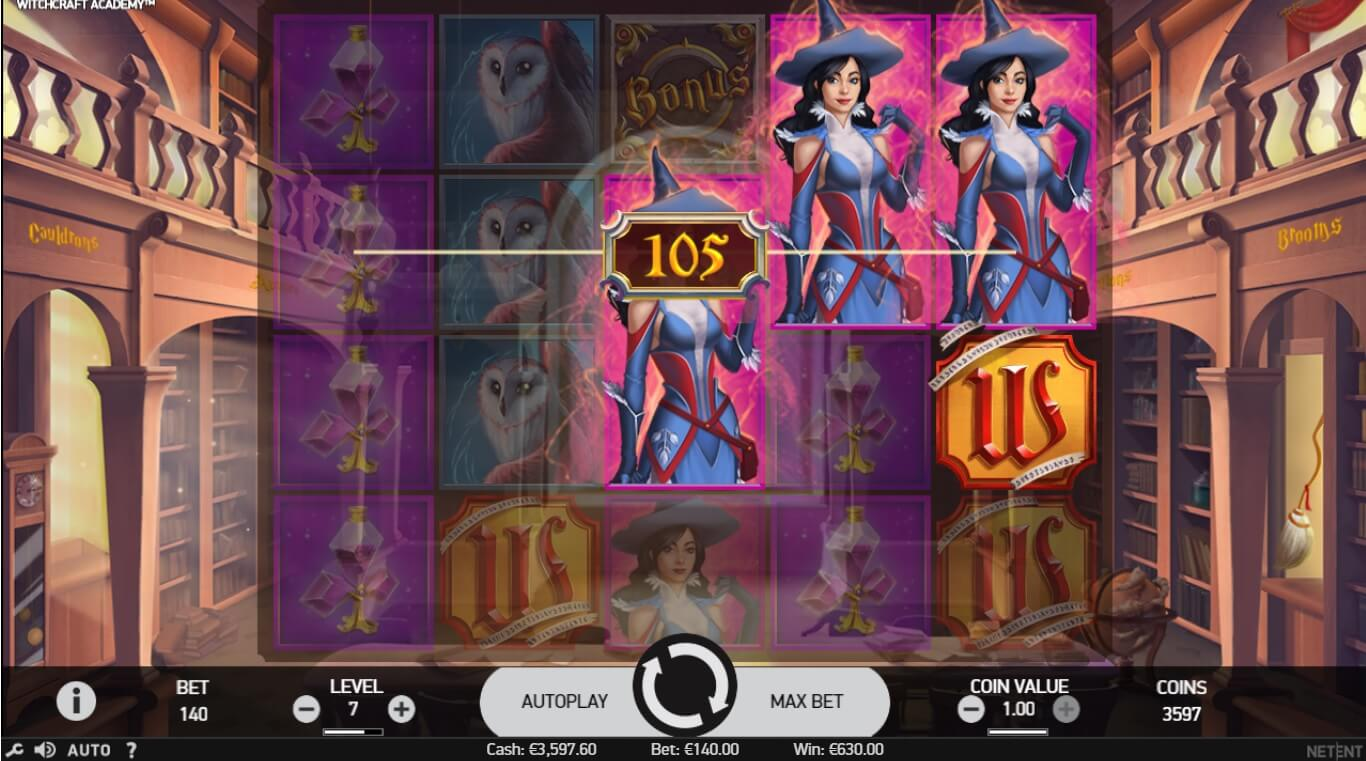 witchcraft academy slot screen shot of a big win